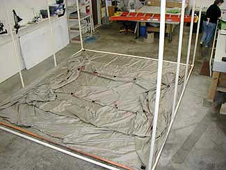 conductive tent fabric is not rated for flame resistance